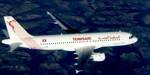 Tunisia airlines Tunisair Airbus A320 in flight.