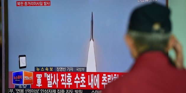 A man watches a TV news showing file footage of a North Korean missile launch at a railway station in Seoul on April 28, 2016.North Korea on April 28 tried and failed in what appeared to be its second attempt in two weeks to test a powerful, new medium-range ballistic missile, South Korea's defence ministry said. / AFP / JUNG YEON-JE        (Photo credit should read JUNG YEON-JE/AFP/Getty Images)