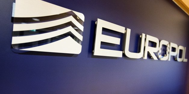 The Europol Logo in the Europol headquarters in The Hague, Netherlands, Tuesday, Nov. 24, 2015. (AP Photo/Jiri Buller)