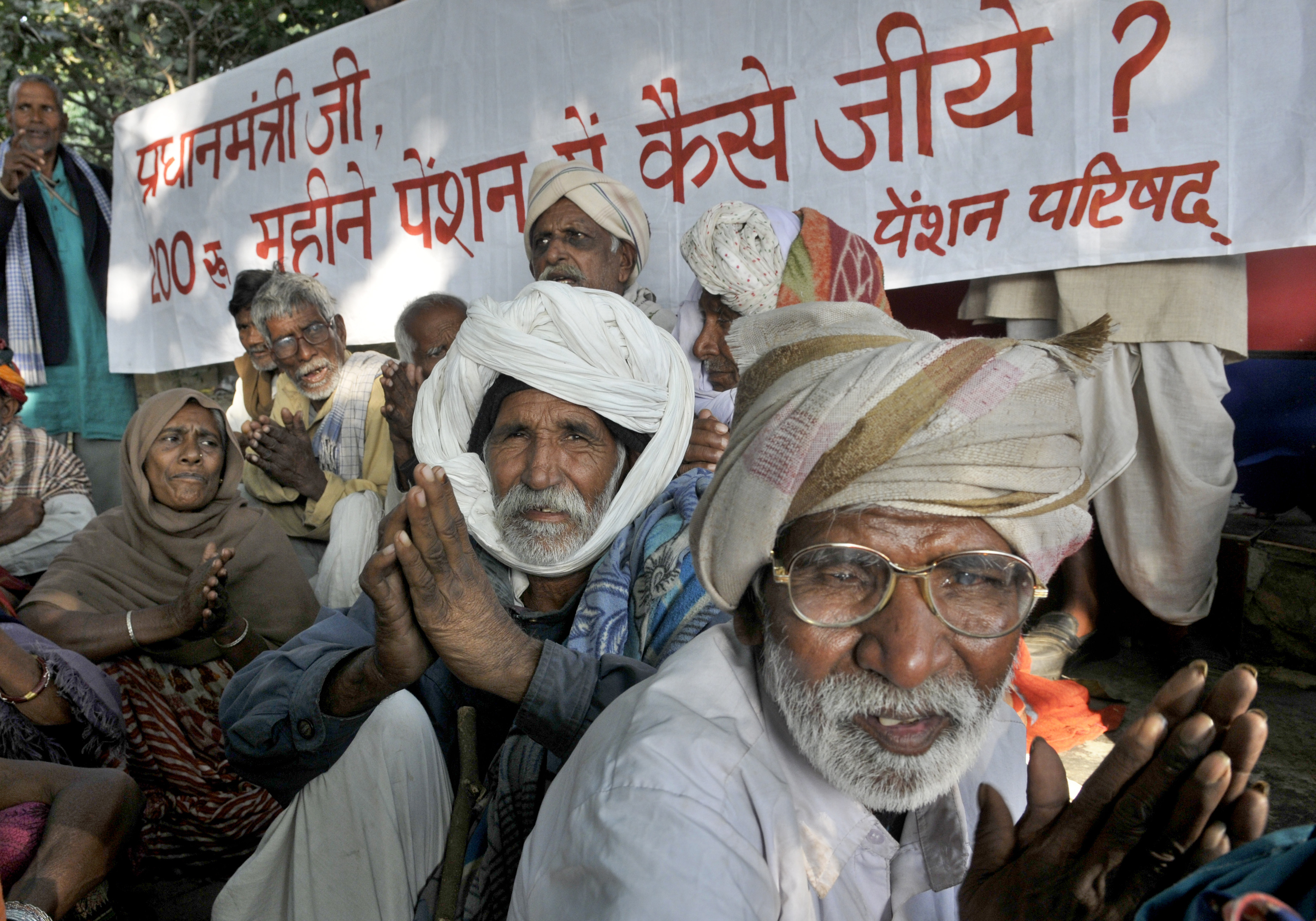 old age india pension protest