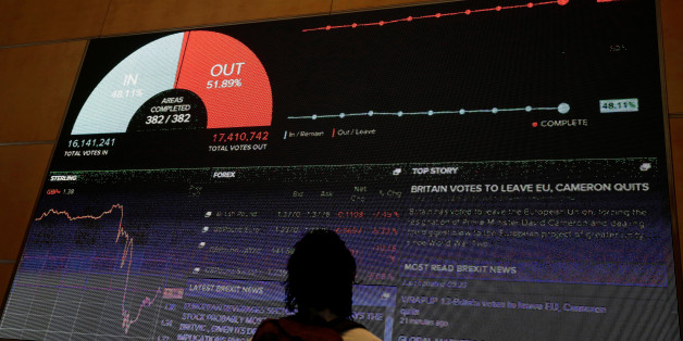 A screen shows the referendum result and market information at Thomson Reuters offices in London, Britain June 24, 2016 after Britain voted to leave the European Union.     REUTERS/Kevin Coombs