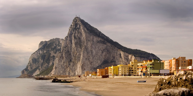 The 'Rock' of Gibraltar and La Linea, Spain as seen from the coast of Southern Spain. View related images in my portfolio below: