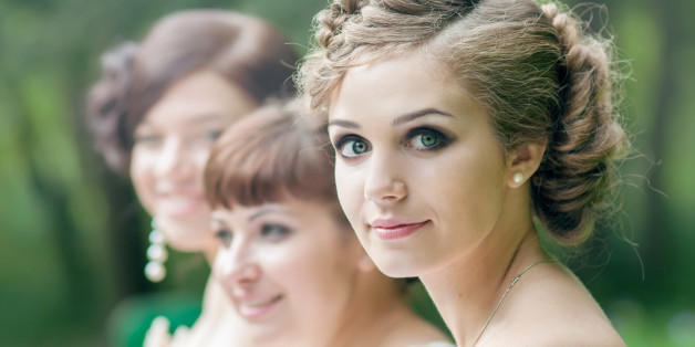 Beautiful bride with her friends