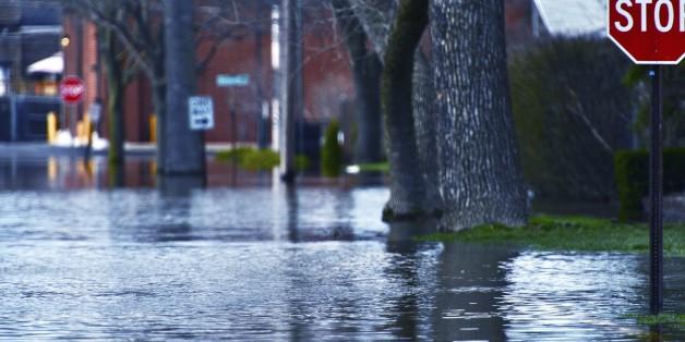 Überflutete Straßen im Hunsrück