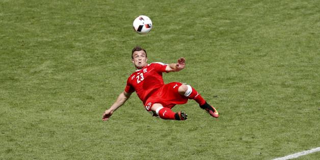 Football Soccer - Switzerland v Poland - EURO 2016 - Round of 16 - Stade Geoffroy-Guichard, Saint-?tienne, France - 25/6/16Switzerland's Xherdan Shaqiri scores their first goal REUTERS/Max RossiLivepic