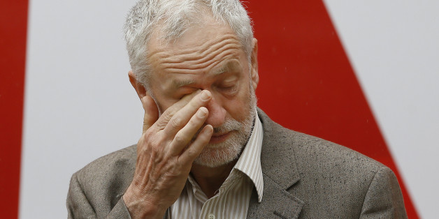Jeremy Corbyn, Leader of Britain's Labour Party wipes his eye at the launch of 'Labour In for Britain', in front of the EU campaign bus, ahead of June's EU referendum, in London, Tuesday, May 10, 2016. (AP Photo/Kirsty Wigglesworth)