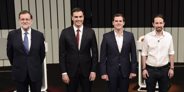 (L to R) Leader of the People's Party (PP) and Spain's caretaker Prime Minister and party candidate, Mariano Rajoy, Leader of Spanish Socialist Party (PSOE), Pedro Sanchez, Center-right party Ciudadanos leader and party candidate, Albert Rivera,(C), and Leader of left wing party Podemos and party candidate, Pablo Iglesias, pose prior to a televised debate at the congress centre IFEMA in Madrid on June 13, 2016 ahead of Spain's general election.Spain is holding its second elections in six months,