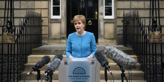 Scotland's First Minister and Leader of the Scottish National Party (SNP), Nicola Sturgeon, addresses the media after holding an emergency Cabinet meeting at Bute House in Edinburgh, Scotland on June 25, 2016, following the pro-Brexit result of the UK's EU referendum vote.The result of Britain's June 23 referendum vote to leave the European Union (EU) has pitted parents against children, cities against rural areas, north against south and university graduates against those with fewer qualificati