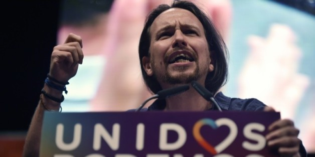 Le responsable du parti Podemos Pablo Iglesias s'adresse à ses partisans lors de son dernier meeting de campagne, à Madrid le 24 juin 2016