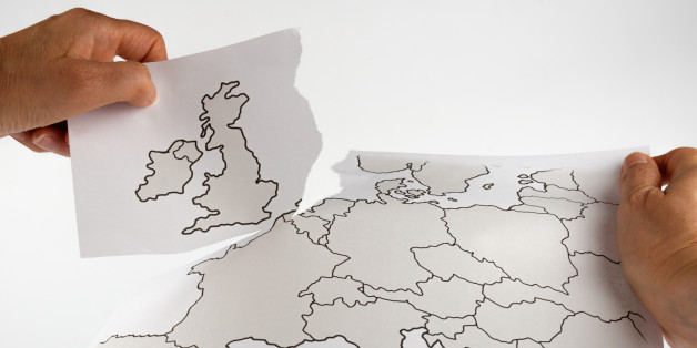 Brexit - Great Britain leaves the EU map cutting - map is painted by myself