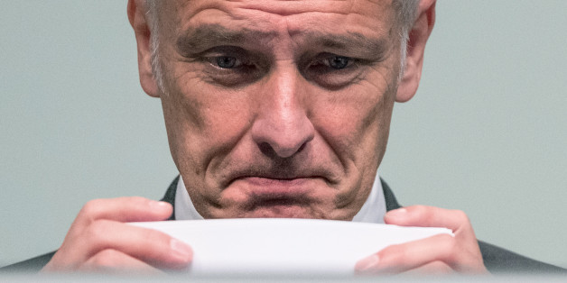 Volkswagen CEO, Matthias Mueller,  attends the annual shareholder meeting in Hannover, Germany, Wednesday June 22, 2016. (Peter Steffen/dpa via AP)