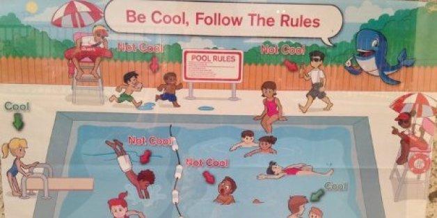 """Das Rote Kreuz entschuldigt sich für """"super-rassistisches Plakat zur Sicherheit an Schwimmbecken""""."""