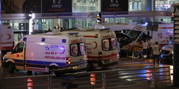 Ambulance cars arrive at Turkey's largest airport, Istanbul Ataturk, Turkey, following a blast June 28, 2016.     REUTERS/Murad Sezer