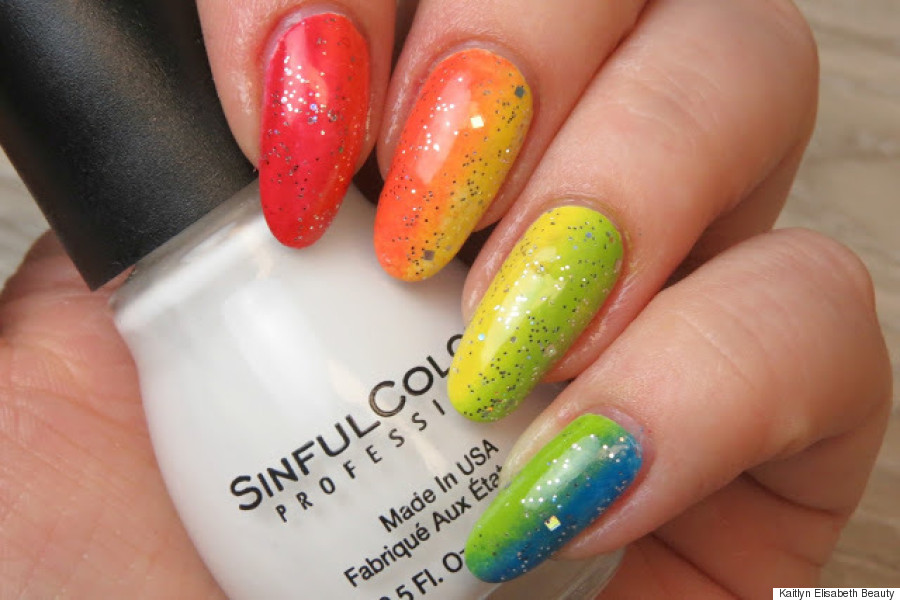 Nail Art: An Easy Rainbow Ombré Design For Pride Month