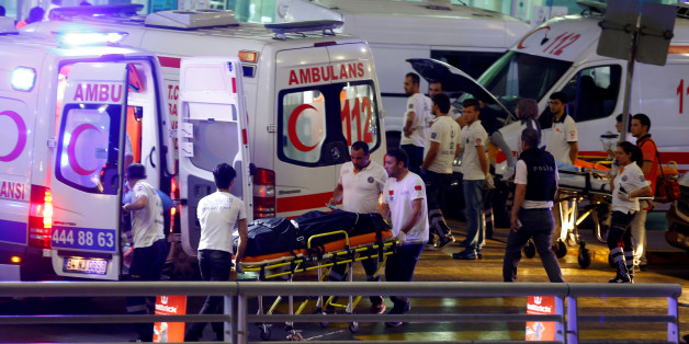 Ambulances arrive at Turkey's largest airport, Istanbul Ataturk, Turkey, following a blast June 28, 2016.     REUTERS/Osman Orsal