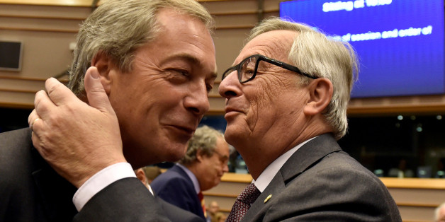 "European Commission President Jean-Claude Juncker welcomes Nigel Farage, the leader of the United Kingdom Independence Party, prior to a plenary session at the European Parliament on the outcome of the ""Brexit"" in Brussels, Belgium, June 28, 2016. REUTERS/Eric Vidal"