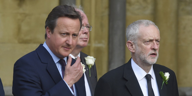 Britain's Prime Minister David Cameron (L) walks from Parliament to St Margaret's Church with Jeremy Corbyn the leader of the opposition Labour Party for a service of rememberance for Labour MP Jo Cox who was shot and stabbed to death last week outside her constituency surgery, in Westminster, London, June 20, 2016. REUTERS/Toby Melville