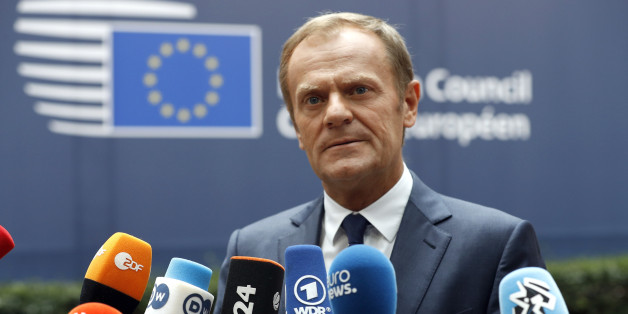 European Council President Donald Tusk talks to the media as he arrives at the EU Summit in Brussels, Belgium, June 28, 2016.     REUTERS/Phil Noble
