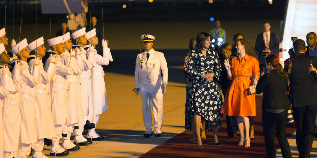 U.S. first lady Michelle Obama is welcomed by Princess Lalla Salma (centre, R) of Morocco as she arrives at the Marrakech International airport early June 28, 2016. REUTERS/Youssef Boudlal
