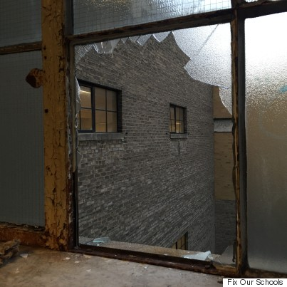 broken school window