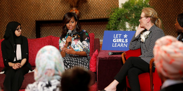 "U.S first lady Michelle Obama and actress Meryl Streep (R) speaks during a conversation with Moroccan adolescent girls moderated by CNNÕs Isha Sesay following the ""Let Girls Learn"" program in Morocco, June 28, 2016. REUTERS/Youssef Boudlal"