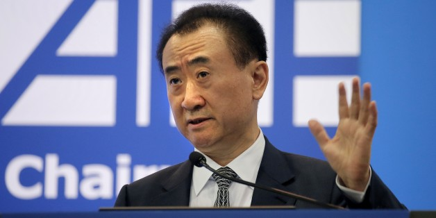 Wang Jianlin, chairman of Wanda Group, delivers a speech at the Ninth Asian Financial Forum in Hong Kong, Monday, Jan. 18, 2016. (AP Photo/Vincent Yu)