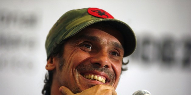 French-born performer and political activist Manu Chao addresses the media during a press conference at the Guadalajara International Film Festival in Guadalajara, Mexico, Tuesday, March 24, 2009. (AP Photo/Ricardo Arduengo)