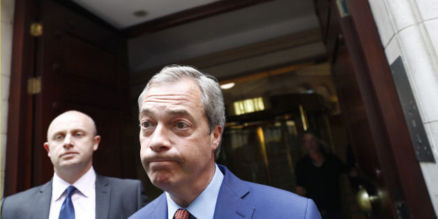 Nigel Farage, the leader of the United Kingdom Independence Party (UKIP) reacts as he leaves following the result of the EU referendum vote, in central London, Britain June 24, 2016.        REUTERS/Stefan Wermuth