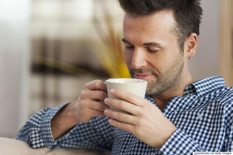 man drinking coffee