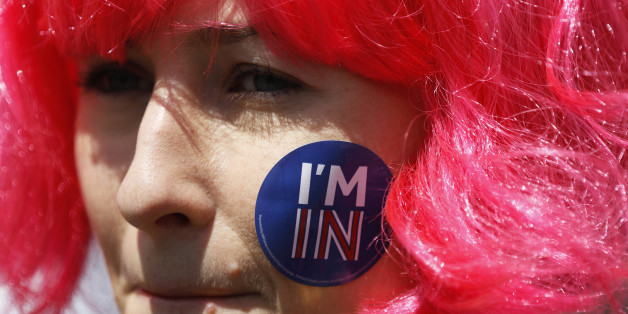 A woman with a sticker of her face attends a 'March for Europe' demonstration against Britain's decision to leave the European Union, in central London, Britain July 2, 2016. Britain voted to leave the European Union in the EU Brexit referendum.    REUTERS/Tom Jacobs
