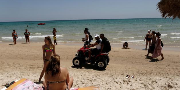 Tourist police members patrol at the beachside of  El Ksar hotel in Sousse, Tunisia June 26,  2016.  REUTERS/ Zohra Bensemra