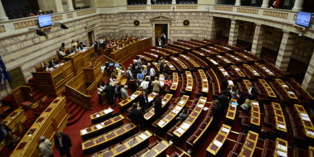 (GERMANY OUT) The Hellenic Parliament deciding the prior actions in form of one law for the negotiation and conclusion of an agreement with the European Support Mechanism (E.M.S). Athens on July 15, 2015 (Photo by Wassilis Aswestopoulos/ullstein bild via Getty Images)