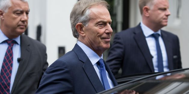 Former British Prime Minister Tony Blair (C) leaves his office in central London on July 5, 2016.Seven years after it began, the official inquiry into Britain's role in the Iraq war finally reports on Wednesday with former prime minister Tony Blair expected to face severe criticism. / AFP / Daniel Leal-Olivas        (Photo credit should read DANIEL LEAL-OLIVAS/AFP/Getty Images)
