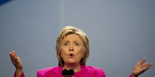 Democratic presidential candidate Hillary Clinton addresses the The National Education Association (NEA) Representative Assembly in Washington D.C., Tuesday, July 5, 2016. (AP Photo/Molly Riley)