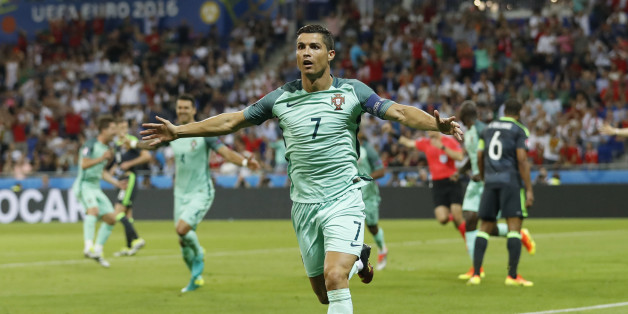 Football Soccer - Portugal v Wales - EURO 2016 - Semi Final - Stade de Lyon, Lyon, France - 6/7/16Portugal's Cristiano Ronaldo celebrates after scoring their first goal REUTERS/Carl RecineLivepic