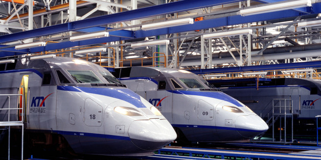 - PHOTO TAKEN DEC03 - The Korean Train Express (KTX) at Koyang base station, about 20 km northwest of Seoul in this December 2003 picture. KTX, South Korea's first high-speed train, begins operation on April 1, 2004.  ??? USE ONLY