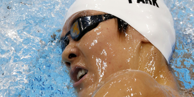 South Korea's Park Tae-Hwan competes in a 1500-meter freestyle swimming heat at the 2012 Summer Olympics, Friday, Aug. 3, 2012, in London. (AP Photo/Julio Cortez)