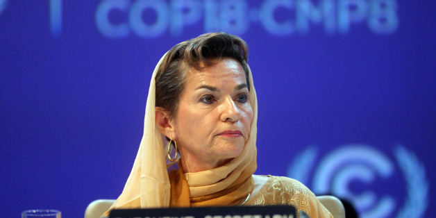 FILE - In this Monday, Nov. 26, 2012 file photo, Christiana Figueres, Executive Secretary of the United Nations Framework Convention on Climate Change (UNFCCC)  attends the opening session of the United Nations Climate Change conference in Doha, Qatar. The United Nations climate chief is urging people not to look solely to their governments to make tough decisions to slow global warming, and instead to consider their own role in solving the problem. Approaching the half-way point of two-week cli