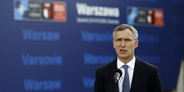 NATO Secretary-General Jens Stoltenberg speaks to the media outside PGE National Stadium, the venue of the NATO Summit, in Warsaw, Poland July 8, 2016. REUTERS/Jerzy Dudek