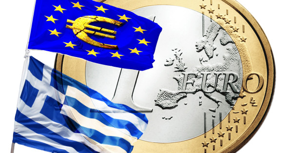 Greece and the European Union flag. In the background 1 euro.