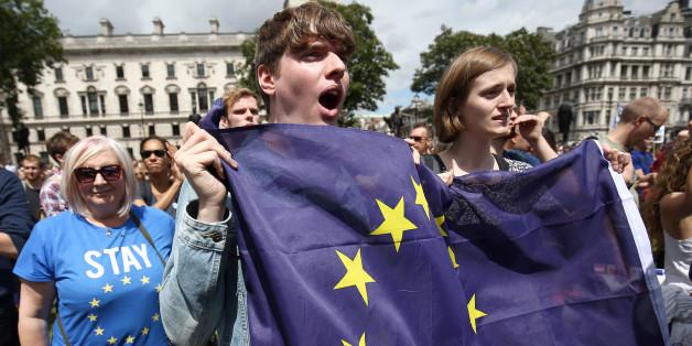 Demonstranten in London werben für einen Verbleib in der Europäischen Union
