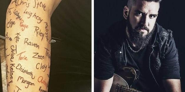 Jedes der 120 Tattoos auf Robb Nashs Arm hat eine rührende Bedeutung.