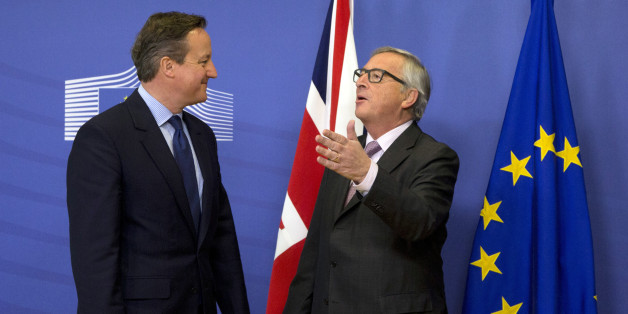 FILE - In this Jan. 29, 2016 file photo, British Prime Minister David Cameron, left, speaks with European Commission President Jean-Claude Juncker at EU headquarters in Brussels. While Juncker has been a advocate of cutting red tape, for many in Britain any rule from Brussels will always be one too many. Railing for years against overly intrusion into daily life with myriad, petty rules, the British have made red tape and regulation a theme in the referendum campaign.  (AP Photo/Virginia Mayo, File)