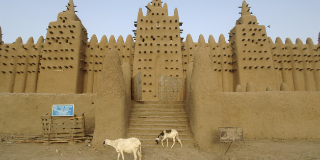 The Great Mosque of Djenne is the largest mud brick building in the world with definite Islamic influences. The mosque is located in the city of Djenne, Mali on the flood plain of the Bani River. The first mosque on the site was built in the 13th century, but the current structure dates from 1907. As well as being the centre of the community of Djenné, it is one of the most famous landmarks in Africa. Along with the 'Old Towns of Djenné' it was designated a World Heritage Site by UNESCO in