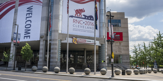 CLEVELAND, OH - JULY 11: Quicken Loans Arena is decorated to welcome the Republican National Convention on July 11, 2016 in Cleveland, Ohio. The convention will be held at the arena July 18-21, 2016. (Photo by Angelo Merendino/Getty Images)