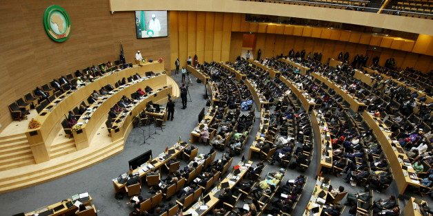 A general view shows Chad's President Idriss Deby addressing delegates during the 26th Ordinary Session of the Assembly of the African Union (AU) at the AU headquarters in Ethiopia's capital Addis Ababa, January 31, 2016. REUTERS/Tiksa Negeri