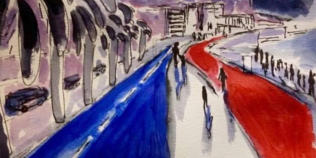 """Ein Gemälde eines Lesers der Zeitung """"Le Monde"""" malt die Promenade von Nizza."""