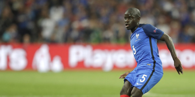 France's N'Golo Kante kicks the ball during the Euro 2016 Group A soccer match between France and Albania at the Velodrome stadium in Marseille, France, Wednesday, June 15, 2016. (AP Photo/Ariel Schalit)