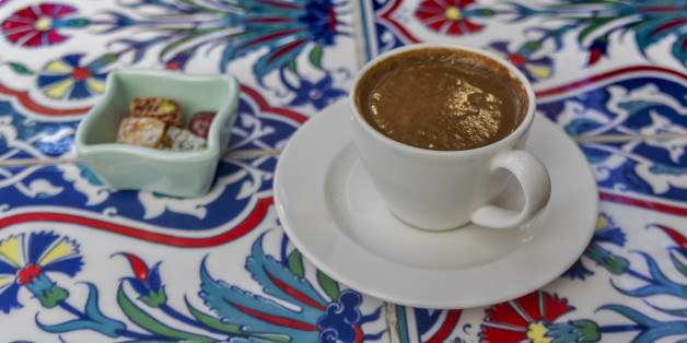 A Cup of Turkish Coffee with Lokum(Turkish delight)