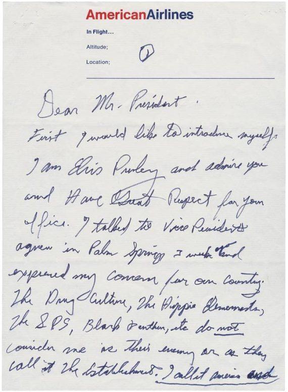 lettre elvis presley à nixon